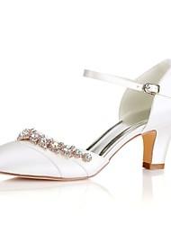 abordables -Femme Chaussures Satin Elastique Printemps / Eté Escarpin Basique Chaussures de mariage Talon Bottier Bout rond Cristal Blanc / Ivoire