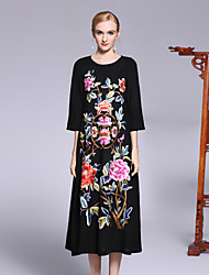 cheap -Women's Party Holiday Sophisticated Chinoiserie Loose Midi Dress, Floral Flower Round Neck Half Sleeves