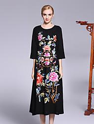 Недорогие -Жен. Шинуазери (китайский стиль) Свободный силуэт Платье - Цветочный принт, Цветы