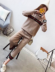 cheap -Women's Sweater - Striped Pant Hooded / Spring
