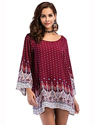 cheap -Women's Beach Boho Cotton Loose Dress - Print