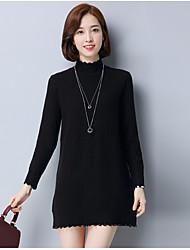 economico -Standard Pullover Da donna-Per uscire Tinta unita Rotonda Maniche lunghe Cashmere Cotone giapponese Inverno Spesso Media elasticità
