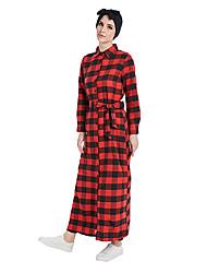 abordables -Mode Abaya Robe Arabe Femme Fête / Célébration Déguisement d'Halloween Rouge Géométrique