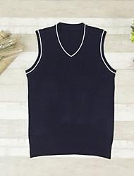 preiswerte -Herren Kurz Pullover-Freizeitskleidung Solide V-Ausschnitt Ärmellos Polyester Winter Herbst Undurchsichtig Mikro-elastisch