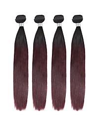 baratos -4 Peças Preto / Borgonha Reto Cabelo Brasileiro Tramas de cabelo humano Extensões de cabelo 0.4kg