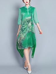 abordables -Mujer Tejido Oriental Vaina Vestido - En Capas Separado Estampado, Animal Asimétrico Escote Chino