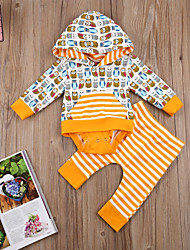 cheap -Baby Unisex Daily Sports Striped Print Clothing Set,Cotton Spring Fall Simple Cute Long Sleeve Yellow