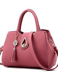 cheap -Women's Bags PU Shoulder Bag Zipper / Tassel Fuchsia / Light Gray / Dark Grey