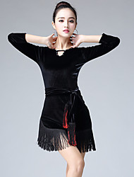 cheap -Latin Dance Dresses Women's Training Polyester Bandage 3/4 Length Sleeves High Dress