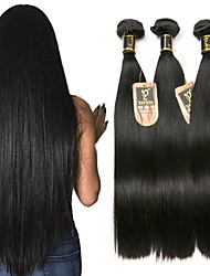cheap -Brazilian Hair Straight Human Hair Weaves 3pcs Natural Color Hair Weaves