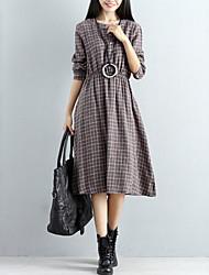 economico -Per donna Taglia piccola Largo Swing Vestito - A pieghe, A scacchi