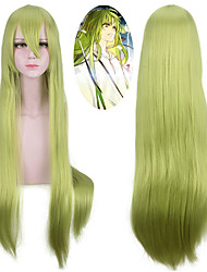 cheap -Synthetic Wig Straight With Bangs Natural Hairline Green Capless Halloween Wig Party Wig Lolita Wig Cosplay Wig Synthetic Hair