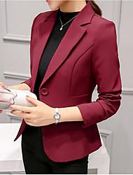 abordables -Mujer Ordinario Diario Primavera Regular Blazer, Cuello doblado Un Color Poliéster