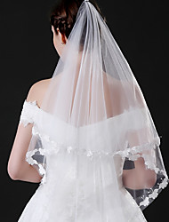 cheap -One-tier Modern Style Bridal Princess Simple Style Wedding Wedding Veil Elbow Veils 53 Butterfly Design Splicing Lace Tulle