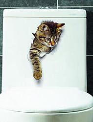 Недорогие -Животные Наклейки 3D наклейки Наклейки для туалета, Винил Украшение дома Наклейка на стену Унитаз