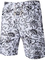 Herre Normal Simple Mikroelastisk Chinos Bukser, Medium Talje 100% Polyester Blomstret Sommer