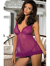 Недорогие -Жен. Ультра-секси Ночное белье Открытая спина, Однотонный