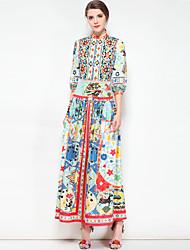 baratos -Mulheres Tamanhos Grandes Boho balanço Vestido - Básico, Floral Colarinho Chinês Longo