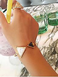 Недорогие -Жен. Геометрический принт Браслет разомкнутое кольцо - Резина европейский, Мода Браслеты Золотой Назначение Для вечеринок