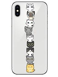 Недорогие -Кейс для Назначение Apple iPhone X / iPhone 8 Ультратонкий / С узором Кейс на заднюю панель Кот Мягкий ТПУ для iPhone X / iPhone 8 Pluss / iPhone 8
