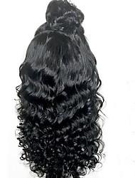 levne -Přírodní vlasy Brazilské vlasy Krajka paruka Vlnitá Plovoucí vlny Dětské vlasy Krajka vpředu Nezpracované 100% Panna Přírodní vlasová