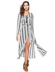 cheap -Women's Beach Boho Loose Chiffon Dress - Striped Color Block, Split High Waist Maxi