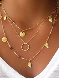 cheap -Women's Multi Layer Hypoallergenic Leaf Pendant Necklace Layered Necklace  -  Metallic Multi Layer Hypoallergenic Circle Gold Necklace For