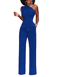 cheap -Women's Party / Going out Street chic Slim Jumpsuit - Solid Color, Backless / Bow High Waist Wide Leg One Shoulder / Spring / Summer