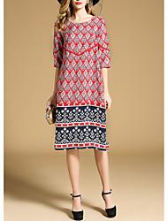billige -Dame Plusstørrelser I-byen-tøj Boheme Løstsiddende Løstsiddende Kjole - Blomstret, Trykt mønster Midi