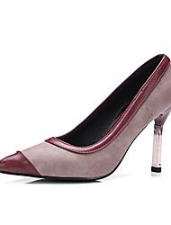 Недорогие -Жен. Обувь Материал на заказ клиента / Дерматин Весна / Осень Удобная обувь Обувь на каблуках На шпильке Заостренный носок Черный / Винный