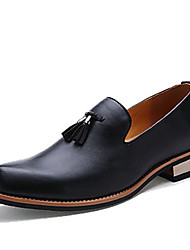 cheap -Men's Shoes Leather Spring Fall Loafers & Slip-Ons Tassel for Casual Office & Career Black Yellow Burgundy