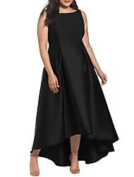 cheap -Women's Plus Size Loose Dress - Solid Color, Basic High Waist Asymmetrical Turtleneck