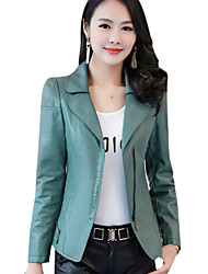 cheap -Women's Denim Jacket - Solid V Neck