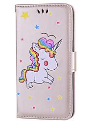 baratos -Capinha Para Huawei P10 Lite P10 Porta-Cartão Com Suporte Flip Estampada Capa Proteção Completa Unicórnio Rígida PU Leather para P10 Lite