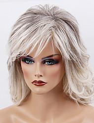 Недорогие -жен. Человеческие волосы без парики Черный / серый Средний Волнистые Волосы с окрашиванием омбре Боковая часть