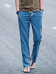 Homens Tamanhos Grandes Simples Cintura Média Micro-Elástica Solto Chinos Calças, Misto de Algodão e Linho Primavera Sólido
