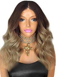 cheap -Remy Human Hair Lace Front Wig Body Wave 130% Density 100% Hand Tied African American Wig Natural Hairline Ombre Hair Short Medium Long