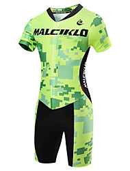 cheap -Malciklo Men's Short Sleeve Triathlon Tri Suit - Light Green British / Geometic Bike Quick Dry, Breathable Coolmax® / Lycra