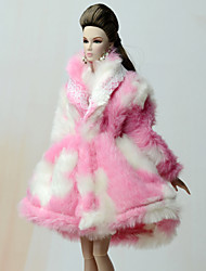 cheap -Coats Coat For Barbie Doll Pale Pink Flannel Toison Coat For Girl's Doll Toy