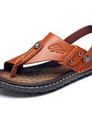 cheap -Men's Shoes Cowhide Summer Comfort Slippers & Flip-Flops for Casual Black Brown Red