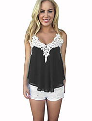 cheap -Women's Polyester Tank Top - Solid, Pleated V Neck
