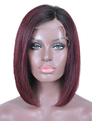 cheap -Women 10 inch 12 inch 14 inch 16 inch Bob Haircut Black/Dark Wine Straight Remy Hair Glueless Lace Front Wigs Brazilian Hair For Black