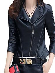 Недорогие -Для женщин На выход Зима Осень Кожаные куртки Воротник Питер Пен,Уличный стиль Однотонный Обычная Длинные рукава,Полиуретановая