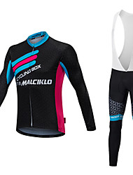 cheap -Malciklo Men's Long Sleeves Cycling Jersey with Bib Tights - White Black Bike Clothing Suits, Thermal / Warm, Quick Dry, Anatomic Design,