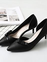 Недорогие -Жен. Обувь Искусственное волокно Весна Осень Удобная обувь Обувь на каблуках На шпильке Заостренный носок Бант для Для вечеринки / ужина