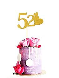 economico -Decorazioni torte Matrimonio / Famiglia / Compleanno Glitterata Carta Matrimonio / Compleanno con A cuore 1 pcs OPP