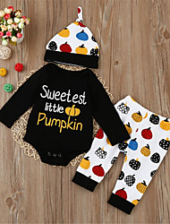 cheap -Baby Unisex Daily Sports Print Clothing Set,Cotton Spring Fall Cute Casual Long Sleeve Black