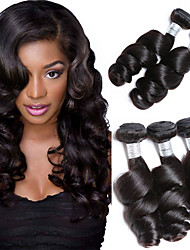 cheap -Brazilian Hair Loose Wave Natural Color Hair Weaves 3 Bundles 8-28inch Human Hair Weaves Natural Black