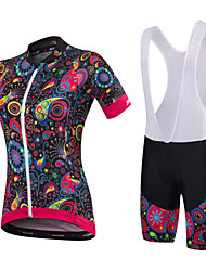 cheap -Malciklo Women's Short Sleeves Cycling Jersey with Bib Shorts - White Black Floral / Botanical British Bike Clothing Suits, Quick Dry,