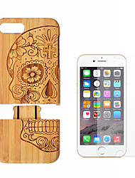 cheap -Case For Apple iPhone 8 Plus iPhone 7 Plus Shockproof Back Cover Wood Grain Hard Bamboo for iPhone 8 Plus